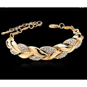 Pulseira Bracelete Feminino Dourada Com Cristais