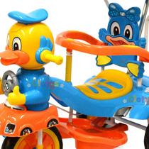 Triciclo Infantil Musica Capota Barral Manija Juguete Bebe