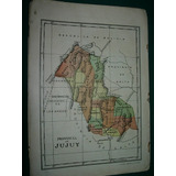 Mapa Antiguo Litografia Argentina Provincia De Jujuy Papel