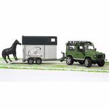 Conj. Bruder Jipe + Reboque Transportador De Animais