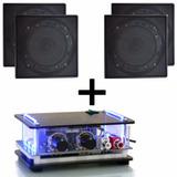 Kit Som Ambiente 4 Arandelas Quad Pretas C/ Amplificador