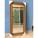 Espelho C/ Moldura Dourada Em Madeira 100x40 Cm/2mm
