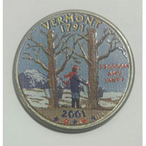 Estados Unidos Moneda Cuarto Dolar Vermont 2001 P Coloreado