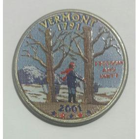 Estados Unidos Moneda Cuarto Dolar Vermont 2001 P Coloreado