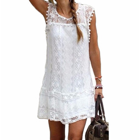 Vestido Verano Solero Playa Regalo Navidad Blanco Encaje