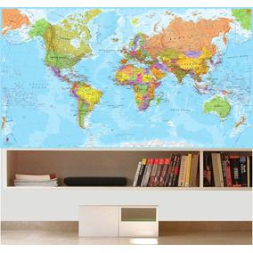 Adesivo Mapa Mundi Papel De Parede Revestimento Decoração 33