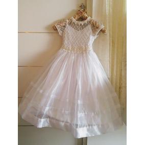 Vestido Infantil Marfim Com Renda E Pérolas