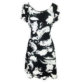 Vestido Manga Corta Estampado Dama Mujer Bco/ngo 0116 Zoara