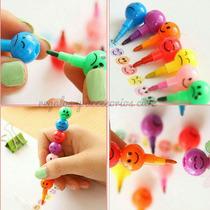 Crayones Tipo Pluma Smile Kawaii (4 Unidades)