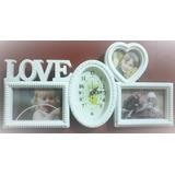 Cuadro Para Fotos Con Reloj Decorativo Blanco Oferta