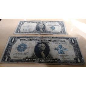 Cédulas Eua One Silver Dollar 1923 E 1935 Selo Azul Bc