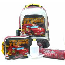 Kit Mochila Carro Crazy For Speed Rodinhas + Lancheira