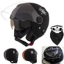Capacete De Moto New Atomic Skull Riders + Bandana + Bolsa