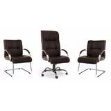 Kit Cadeiras Zeus Couro Natural Presidente 2 Cadeiras Fixas