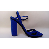 Zapatillas Zara Tacon Alto Afelpados!! Color Azul!!! T-26mx