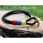 Pulsera De Ancla Tricolor Para Hombres- Brazaletes En Cuero