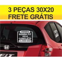 Adesivo Vende-se Vendo Veículo Carro 03 Peças Frete Grátis L