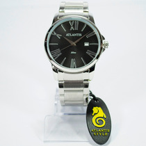 Relógio Masculino Social Atlantis Original Res. Água + Case
