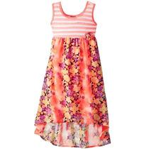Vestido Coral Flores Talla 5 A 8 Años