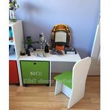 Mesa Con Cubo Y Silla Baul Guarda Juguetes Mueble Infantil