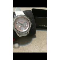 Relógio Original Fossil Feminino Fundo Rosa Pulseira Branca