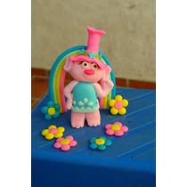 Adorno Torta Princesa Poppy Trolls Porcelana Fria