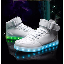 Tenis Led Blanco Bota Recarcables Usb Luminosos Efectos Led