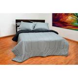 Sobre Cama Tipo Comforter Doble Faz Negro-gris Doble140x190