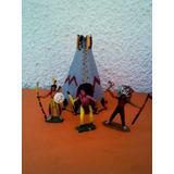 Lote X 3 Soldaditos Indios De Plastico Antiguos Carpa 02