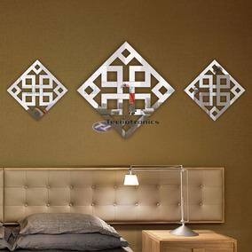 Kit Espelho Decorativo Abstrato Conjunto Sala Jantar Quarto
