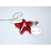 Collar Swarovski Starfish Red Magma,plata Envio Gratis!