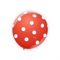 Balão Art-latex Nº9 Vermelho Poá Branco - Bexiga De Bolinha