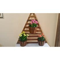 Suporte Horizontal Orquídea Triangulo Em Madeira 3 Vasos 065