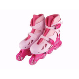 Patins Roller In-line Rosa 34 A 37 Regulável Adulto - Fênix