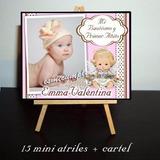 15 Souvenirs Mini Atriles Bautismo Primer Añito + Cartel