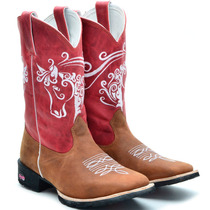 Bota Texana Feminina Country Bordada Rodeio Bico Quadrado