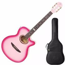 Violão Nylon Tagima Vegas Cor Rosa Pink C/ Afinador + Capa