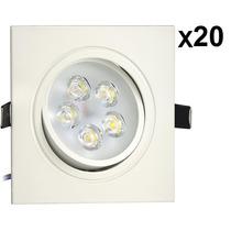 Kit 20 Lâmpadas Spot Led 5w Quadrado Direcionável Embutir 3k