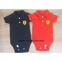 Body Gola Polo Ferrari Infantil Menino Kit 4 Peças