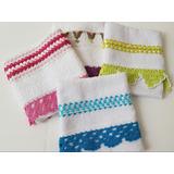 Toallas Bordadas Con Cintas Y Puntillas Tejidas Al Crochet!