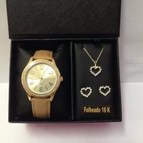 Relógio Lince Lrc4338l + Brinde Conjunto Folheado A Ouro