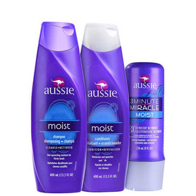 Kit Aussie Shampoo M+ Condicionador + 3 Minute Miracle Moist