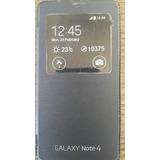 Funda Flip Cover Samsung Note 4 Sin Chip, Generica Negra