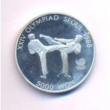 Corea Del Sur Plata 925 5000 Won 1987 J Olímpicos Taekwondo