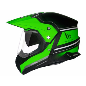 Capacete Mt Sv Duo Sport Cross Vintage Matt Black/green