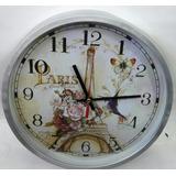 Reloj De Pared Con La Imagen De París Funciona Con Pila Aa