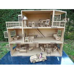 Casa De Boneca Com 27 Móveis +1 Carro Pra Polly