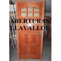 Puerta Cedro Macizo De Exterior 80x2.00 Con Manijon