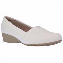 Sapato Branco Enfermagem Feminino Fechado Saltinho Anabela
