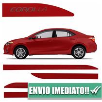 Jogo Friso Lateral Corolla Vermelho Granada 4 Peças